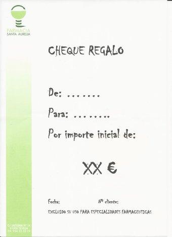 Cheque Regalo de Farmacia Santa Aurelia