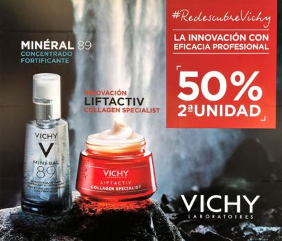 Promoción segunda unidad de Vichy al 50% en Farmacia Optica Santa Aurelia